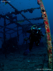 My wife Bea making a video of the Kuda Giri wreck. If you... by Bea & Stef Primatesta