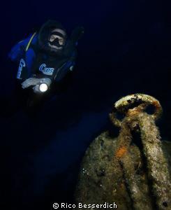 Rebreather Diver & wreckage by Rico Besserdich