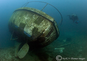 Freshwater wreck & diver. Dec 2010 - water = 5'C by Mark Thomas