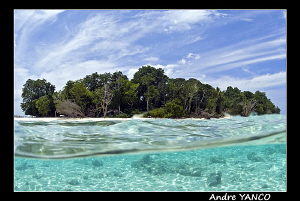 An over/under shot of my favourite diving spot SIPADAN IS... by Andre Yanco