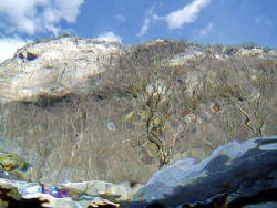 Paysage de montagne à travers la surface de la rivière Ve... by Philippe Brunner
