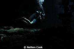 A diver in a swim through on Iron Shore Gardens, Grand Ca... by Nathan Cook