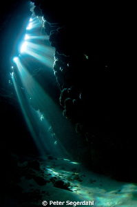 Sun rays in the cave by Peter Segerdahl