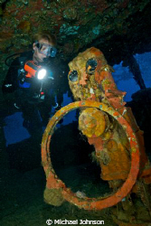 Exploring the Wheel House of the Nippo Maru in Truk Lagoon by Michael Johnson
