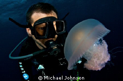 Self portrait with a Jelly Fish by Michael Johnson