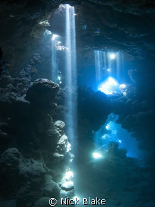 """""""The Chimney"""", caves at Jackfish Alley, Red Sea. by Nick Blake"""