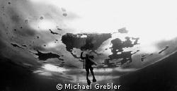 Tech diver under ice, Morrison's Quarry. Ice curvature ef... by Michael Grebler