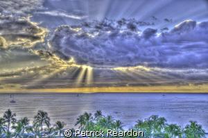 Waikiki sunset.  Oahu, Hawaii. by Patrick Reardon