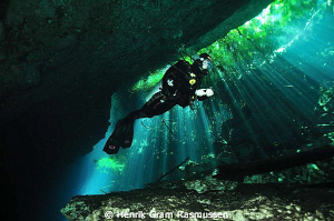 Diver at Cenote Pondarosa by Henrik Gram Rasmussen