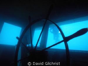 Wheel on Niagara II wreck, Tobermory ,Ontario by David Gilchrist