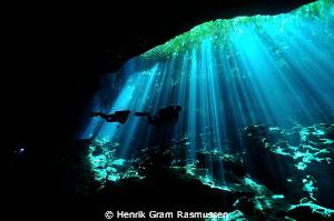 """""""laser Light"""" in Cenote Ponderosa by Henrik Gram Rasmussen"""