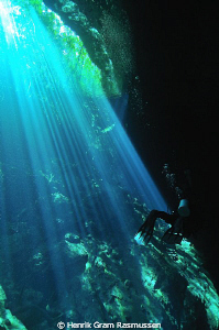 Diver at Cenote Ponderosa by Henrik Gram Rasmussen