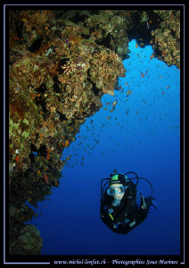 Diving the caves in Dahab... :O) by Michel Lonfat
