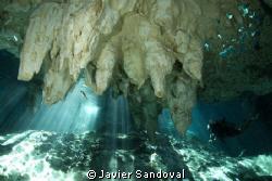 scuba diver in grand cenote by Javier Sandoval