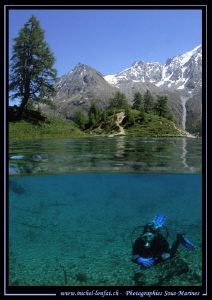 High altitude mountain lake diving... Que du bonheur. :O)... by Michel Lonfat