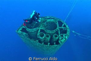 Chimney of the oil tanker Haven sank in front of Genoa in... by Ferrucci Aldo