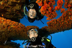 My Buddy Frédéric in a mirror in the Blue Hole, Gozo, Mal... by Michael Thiel
