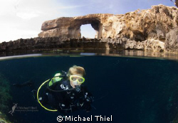 Diver in the Blue Hole, Maltese Islands (on Gozo), with t... by Michael Thiel
