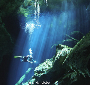 """Light Fantastic"", Taj Maha Cenote, Rivera Maya, Mexico by Nick Blake"