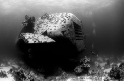 Salem Express with diver, Red Sea by Marc Montocchio