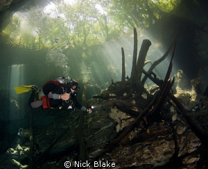 Exploring in Chac Mool Cenote, Mexico. by Nick Blake