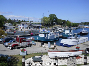 View of Little Tub harbour, Tobermory, Ontario with sever... by David Gilchrist