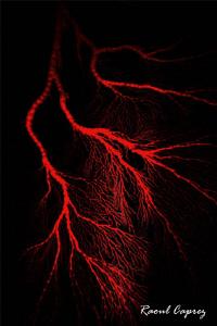 Red lightning by Raoul Caprez