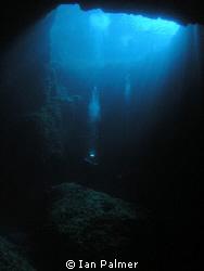 The Blue Hole, Gozo.  Olympus 5060wz Inon UWL 100 f7.1... by Ian Palmer