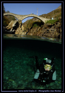 Diving the Verzasca River... :O)... by Michel Lonfat