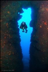 A divespot called BLUE EYE at the westcoast of Corfu-Island. by Reinhard Arndt