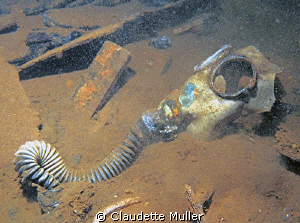 Gas mask deep in the hold of a Truk Lagoon wreck. by Claudette Muller