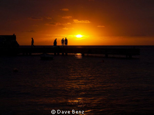 Sunset at Boca Sami, Curacao. by Dave Benz