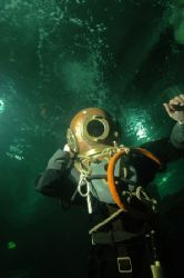 Diving in historic diving gear, this old seibe gorman set... by Grant Kennedy