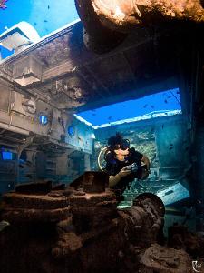 Inside wreck Coastguard Patrol Boat No 119 KasTurkey Kas/Turkey Kas Turkey ).