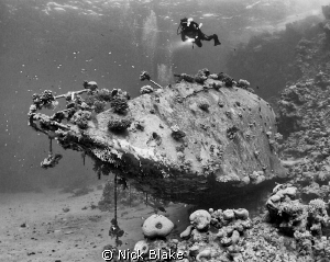 Red Sea yacht wreck with black and white conversion. by Nick Blake