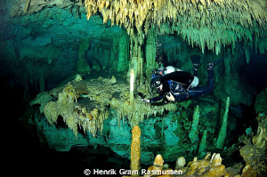 "Diver in the cenote ""dreams gate"" - taken with 10,5mm fis... by Henrik Gram Rasmussen"