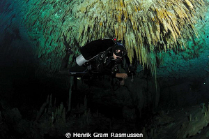 "Cave diver in ""dreams gate"" - 10,5mm fisheye and 2 x flash by Henrik Gram Rasmussen"
