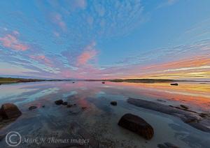 omey Strand at sunset, Connemara. 15mm fisheye. by Mark Thomas