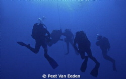 Safety stop in the  ice blue and cold Atlantic sea by Peet Van Eeden
