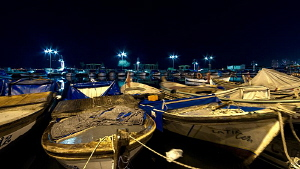 A small fishermen's harbour ( during night ). long exposu... by Rico Besserdich