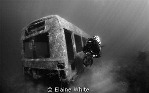 Black and White image of The Bus, natural light  Wraysbury by Elaine White