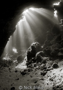 St John's Caves, Red Sea. Black and white conversion. by Nick Blake