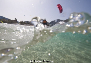 KiteSurf U/W during Wind surf World festival on the beach... by Dario Romeo