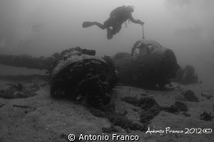 Junkers 88 II war in B&W wide angle natural light by Antonio Franco
