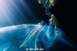 Elsa Bleda shot in pool. Underwater strobe triggered flas... by Alec Davies