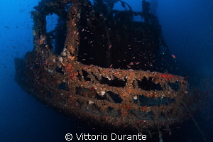 Stern of the wreck Laura C, about 45 mt deep by Vittorio Durante