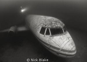 Diver on Passenger Plane, Capernwray. by Nick Blake