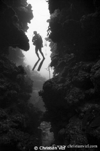Diver`silhouette after exiting a cavern passage at Jardin... by Christian Vizl
