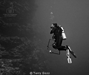 """Contemplating the Rock"" - me and my buddy Bob drift by t... by Terry Goss"