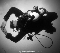 Black and White tech diver. by Tony Mccann
